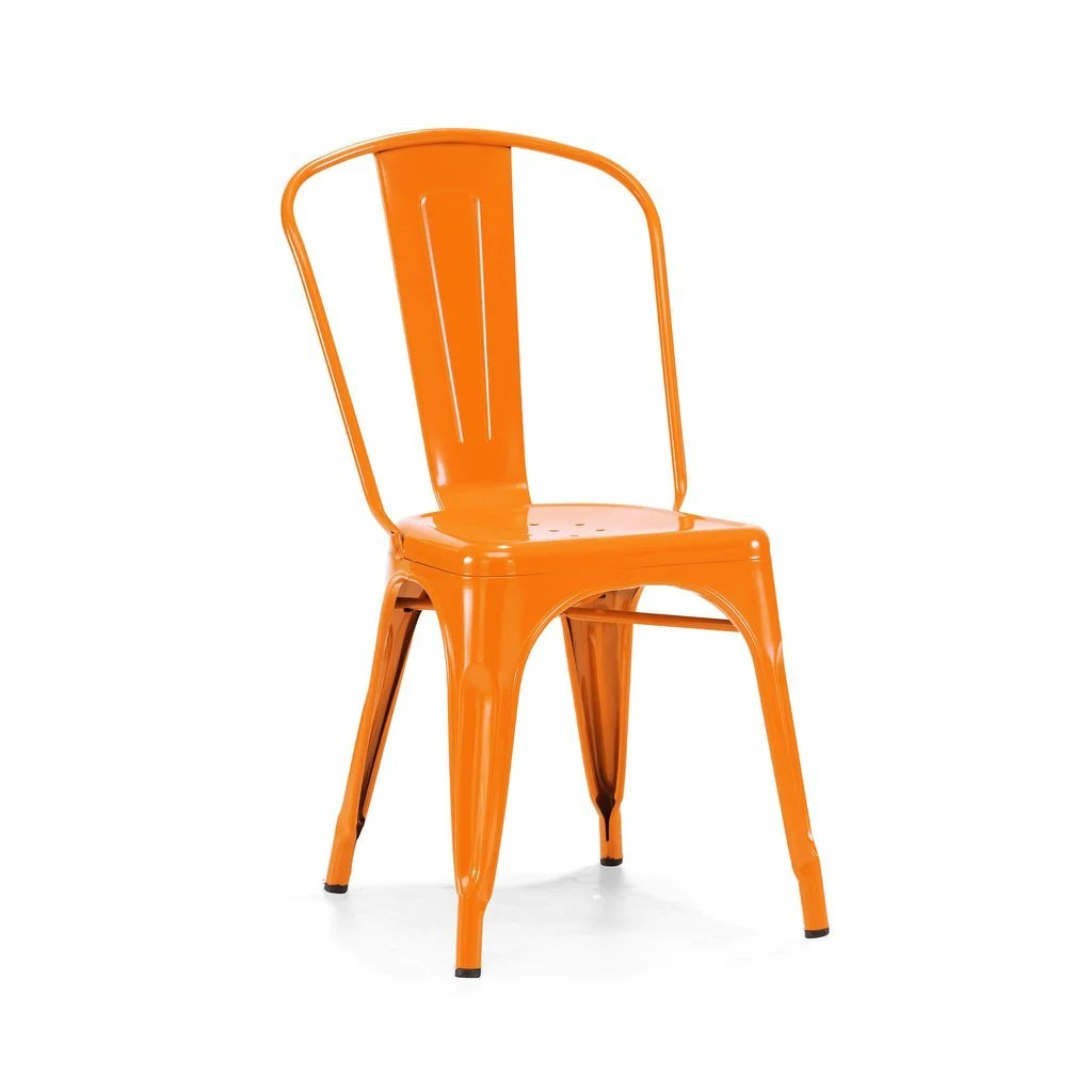 orange side chair pressed back parts dreux glossy steel stackable set of 4 anja s attic