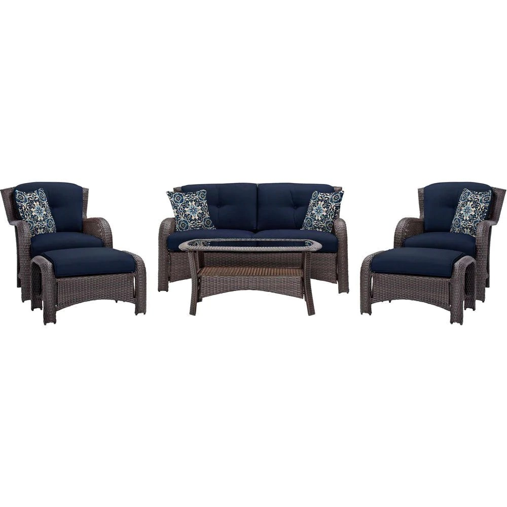 Wicker Patio Chair Outdoor 6 Piece Resin Wicker Patio Furniture Lounge Set With Navy Blue Seat Cushions