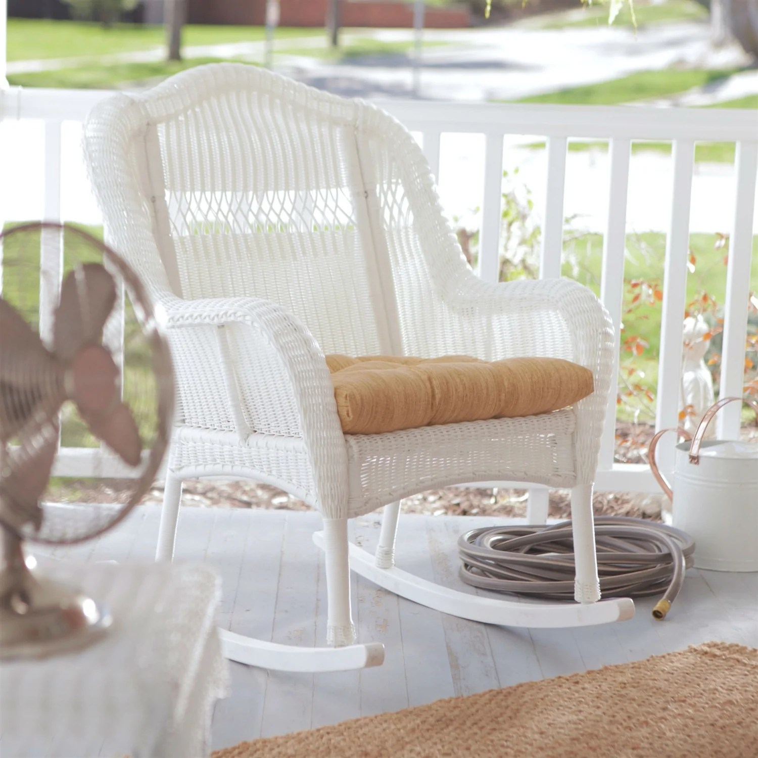 Wicker Rocking Chair Indoor Outdoor Patio Porch White Resin Wicker Rocking Chair