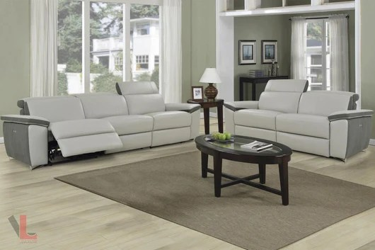 grey power reclining sofa tight back sectional with chaise aura top grain light leather 2 piece set and loveseat by levoluxe