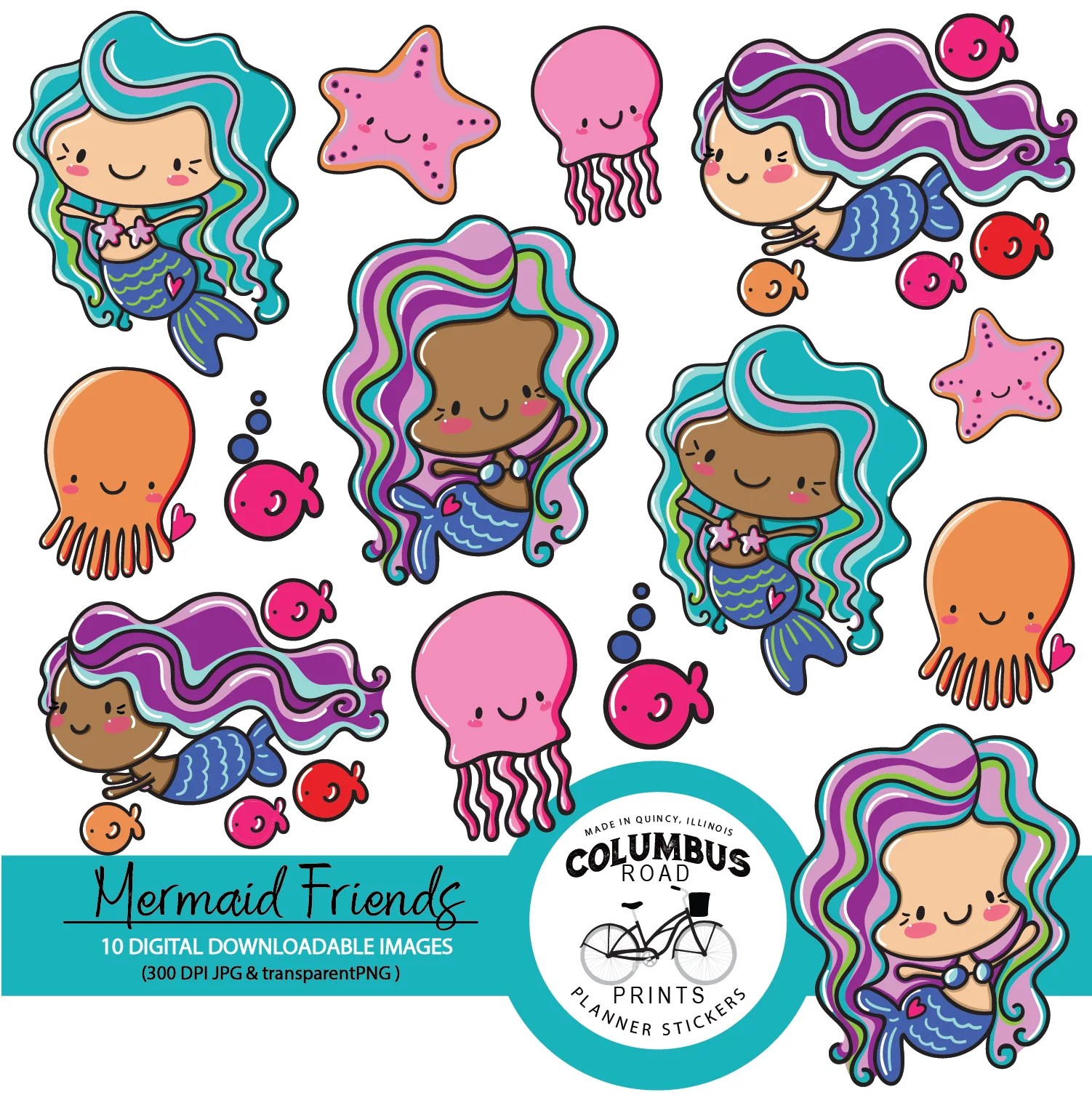 digital clipart mermaid friends mermaid digital downloadable clipart use for craft scrapbooking and sticker projects  [ 1502 x 1506 Pixel ]