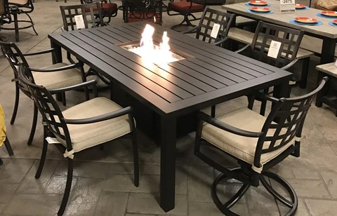 stratford outdoor fire pit dining set