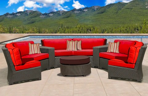 canyon curved wicker sectional