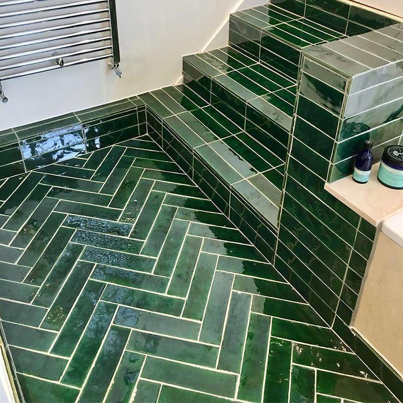 emerald green glazed rectangle tile
