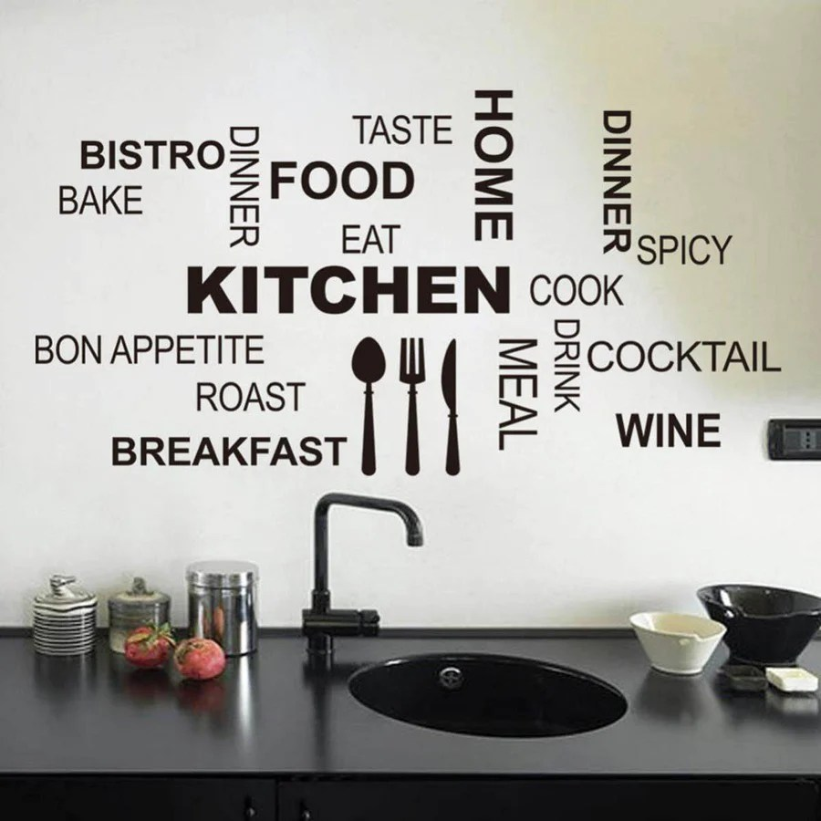 pictures for kitchen wall curtains ikea characters words stickers decal home deco fashion decoration blace black quotes sticker