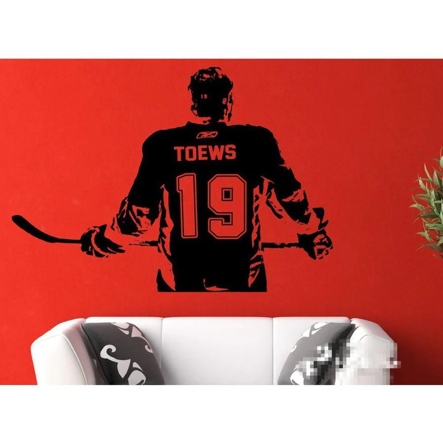 hockey player wall sticker boys room ice hockey decal name number