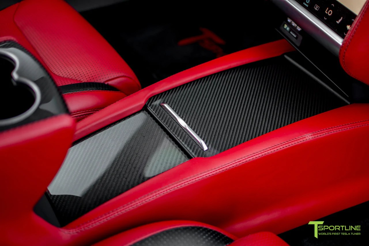 hight resolution of model s with gloss tesla carbon fiber center console flip door and sliding tray panel set