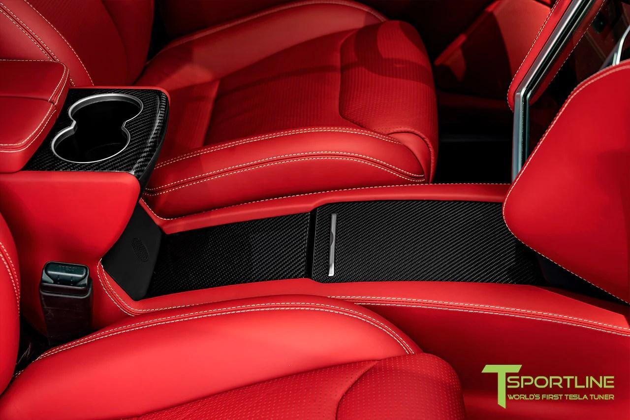 medium resolution of model x with gloss tesla carbon fiber center console flip door and sliding tray panel set