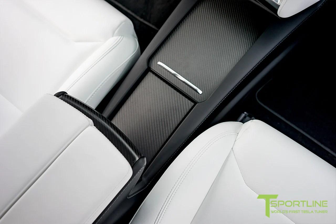 model x with matte tesla carbon fiber center console flip door and sliding tray panel set [ 1280 x 853 Pixel ]