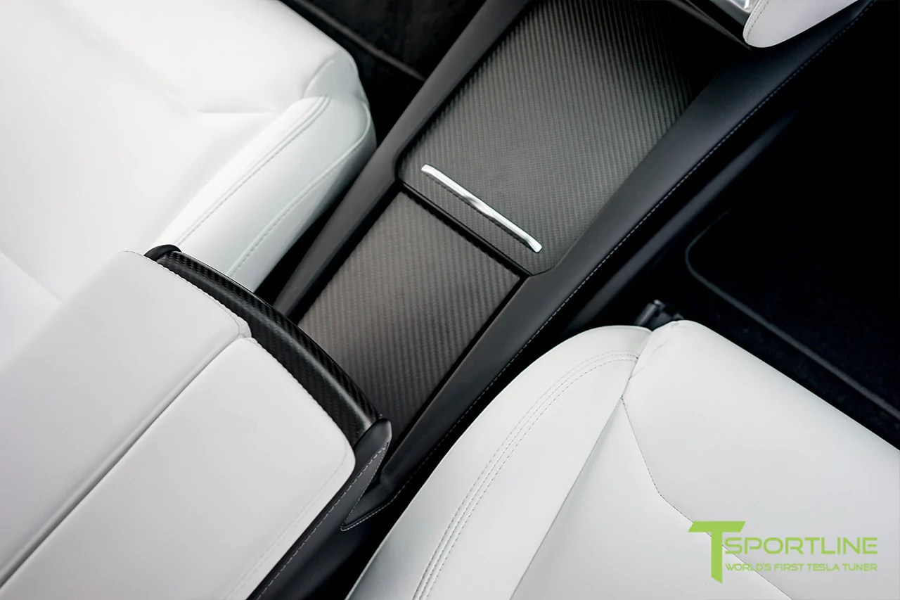 medium resolution of model x with matte tesla carbon fiber center console flip door and sliding tray panel set
