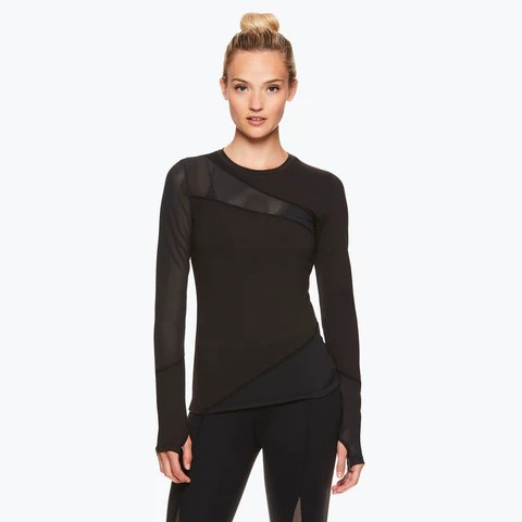 Madison Long Sleeve Mesh Piecing Top