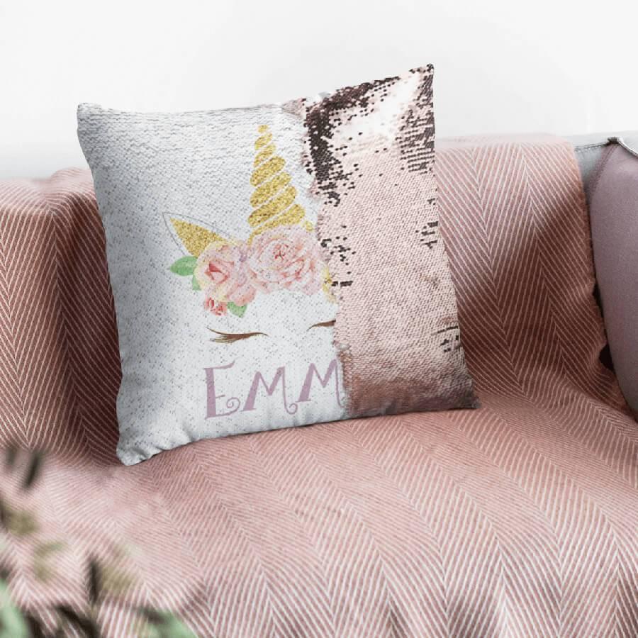 custom unicorn sequin pillow