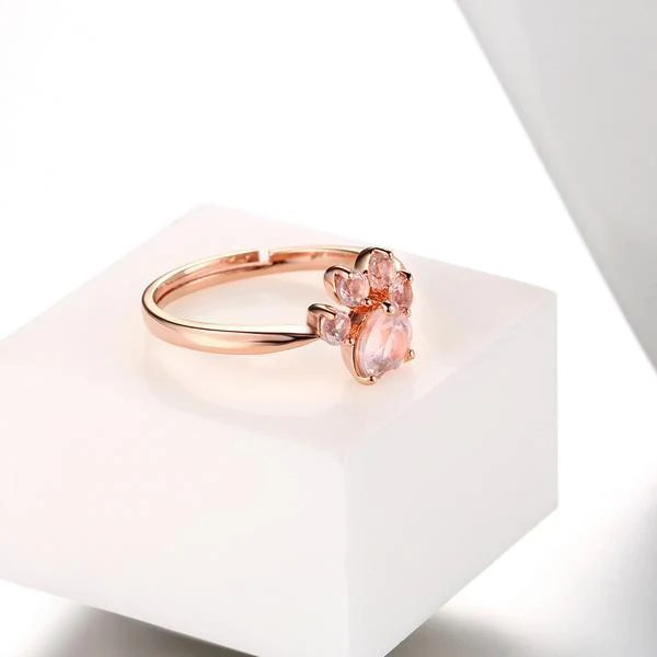 Beautiful Rose Gold Paw Ring  Grr Cats
