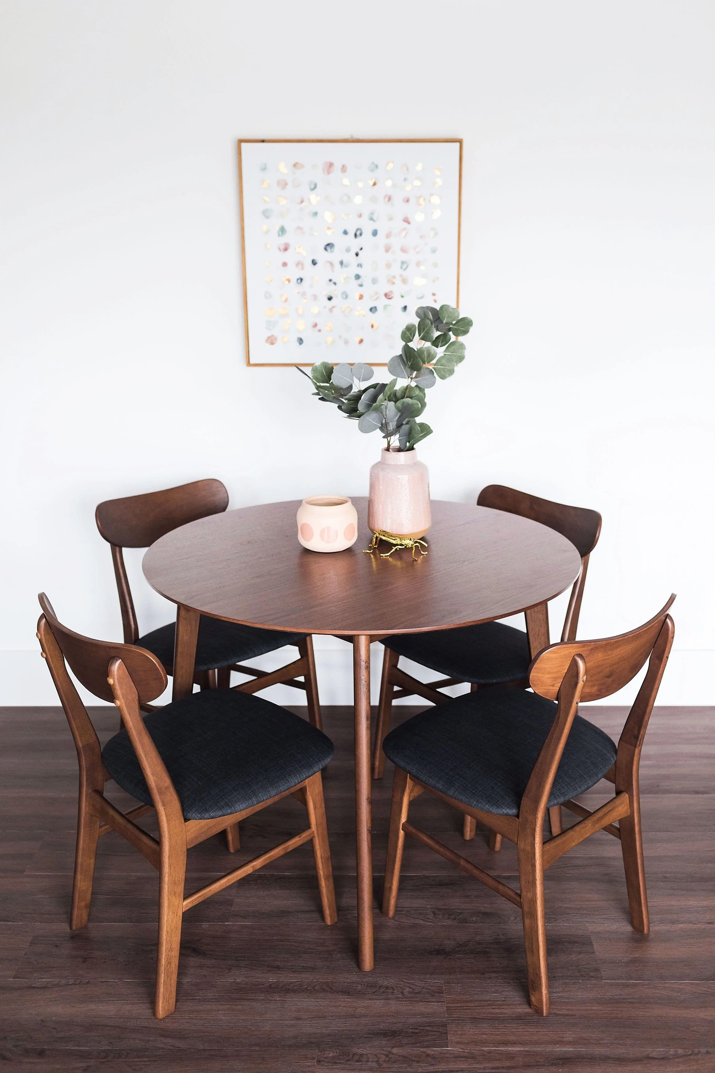 Alia Mid Century Modern Round Dining Table Small Kitchen Table Walnut Edloe Finch Furniture Co