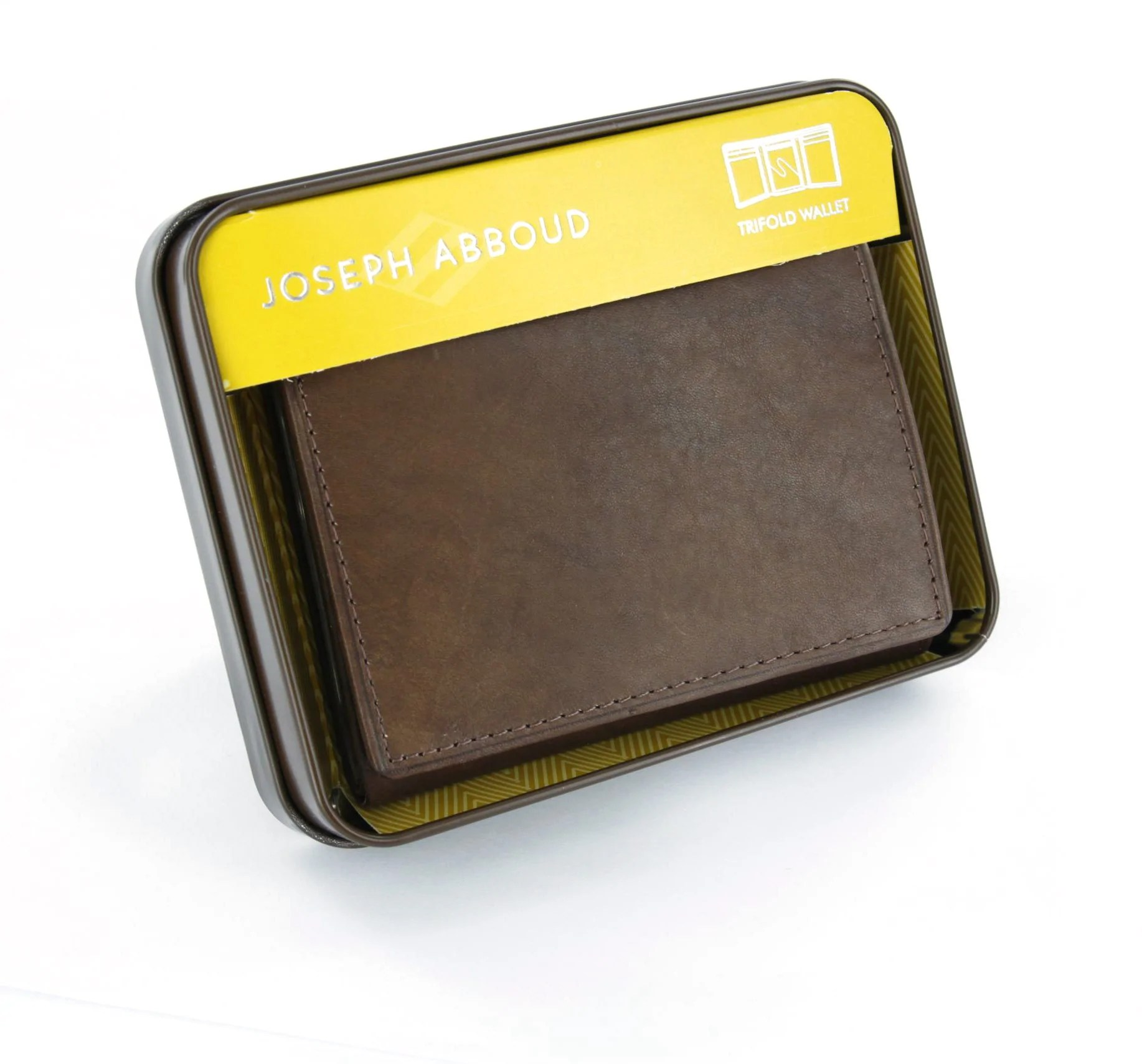 Joseph Abboud Brown Genuine Leather Tri-fold Wallet With Id Window Walletoutlet