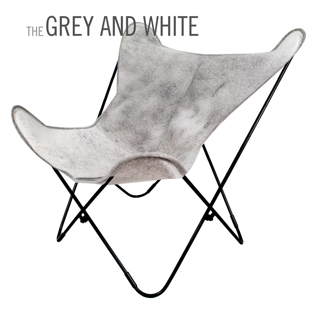 Butterfly Folding Chair Special Edition Snowy White And Grey Cowhide Leather Butterfly Chair