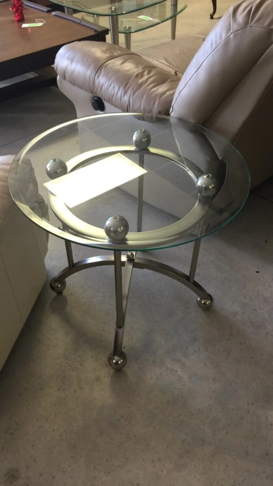 round glass top coffee end table w