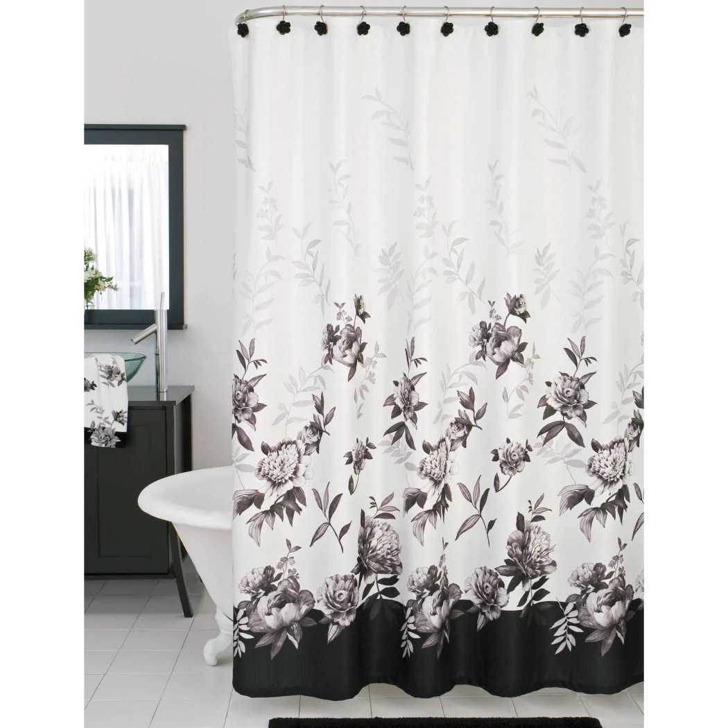 grey black white floral pattern shower curtain floral graphic themed