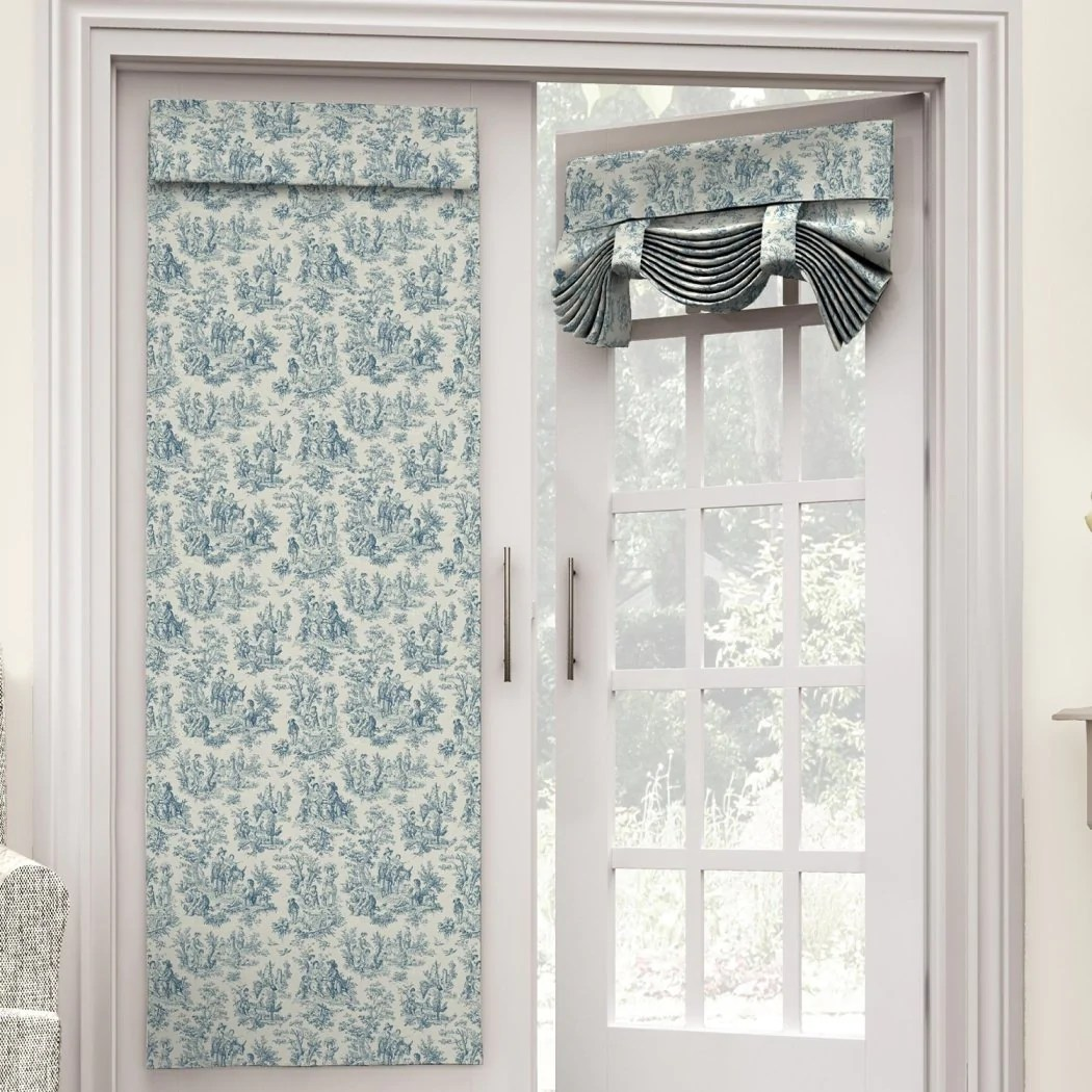flower country toile scene french door curtain single panel glass