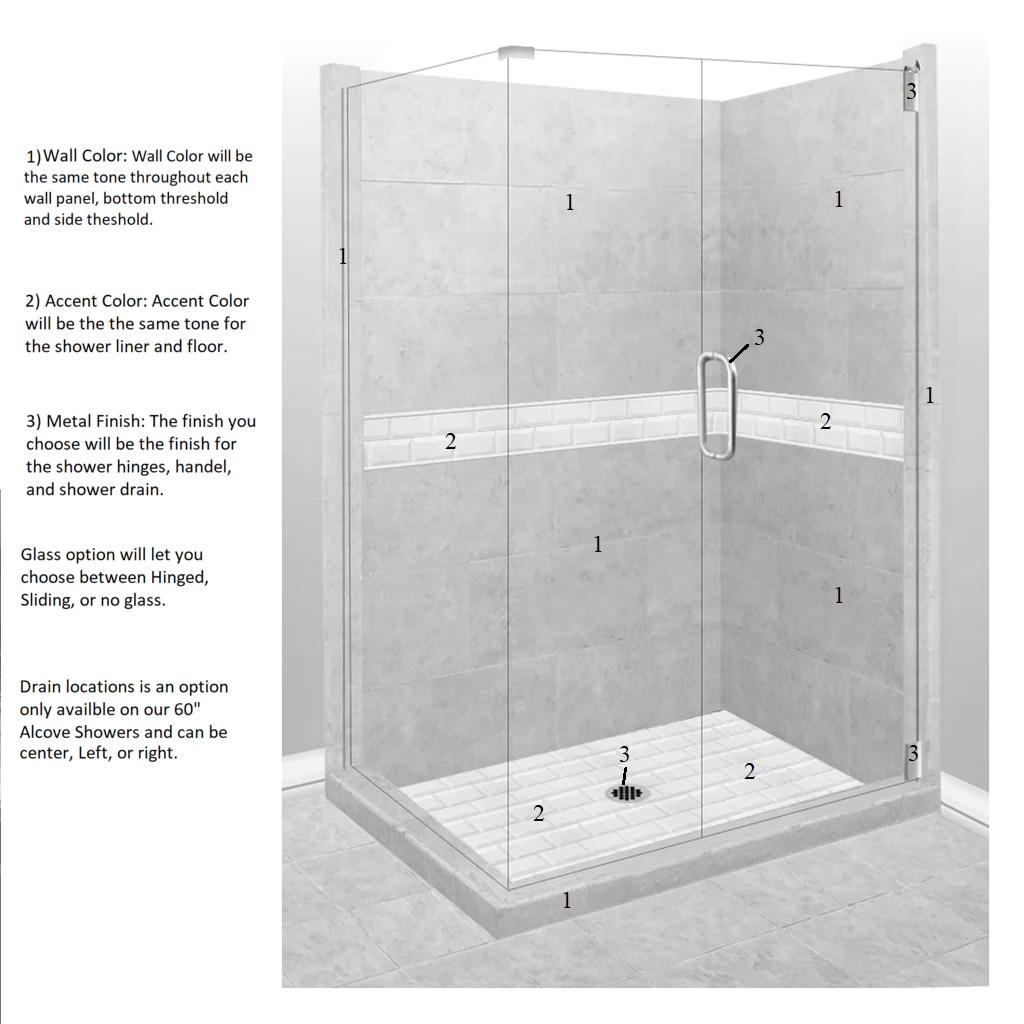 medium resolution of  subway corner shower kit style color options test shower kit american bath factory