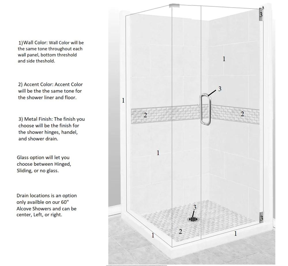 jewel corner shower kit style u0026 color options u2013 american bath factoryjewel corner shower [ 1000 x 923 Pixel ]