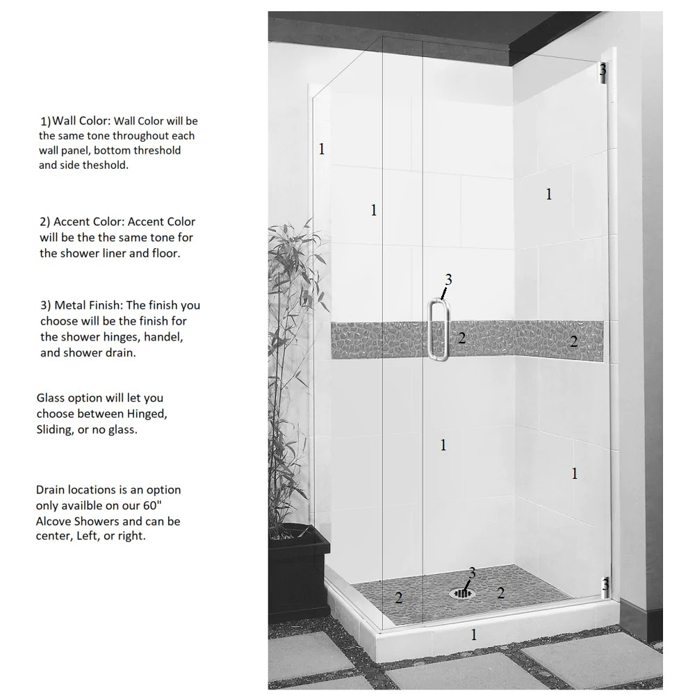 medium resolution of  pebble corner shower kit style color options shower kit american bath factory