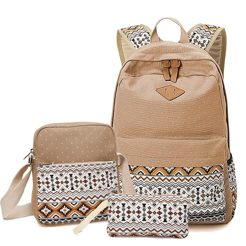 stylish canvas printing backpack