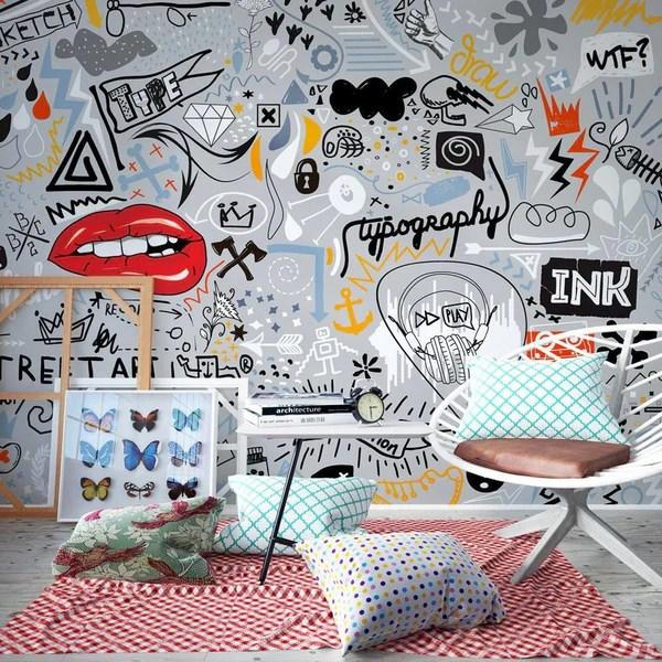 Se i graffiti sono la tua passione, non perdere l'occasione di averli direttamente sui muri di casa. Carta Da Parati Con Scritte Flusso Di Pensiero Ilydecor