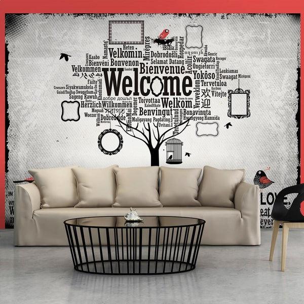 Rendi unica la tua stanza con collage moderno con la gioconda. Carta Da Parati Con Scritte In This House Ilydecor