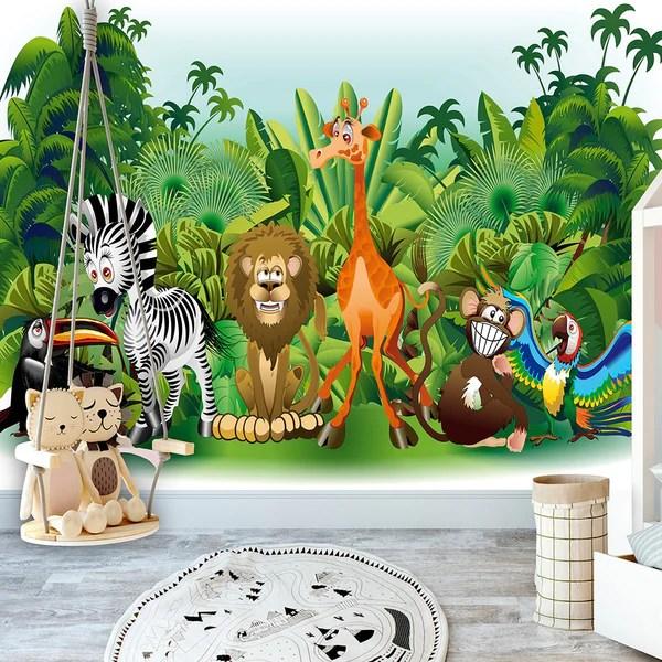 Se stai cercando carte da parati murales intelligenti, accattivanti, divertenti o trendy per le camere dei tuoi bambini, troverai un elenco praticamente infinito di fantasie che faranno impazzire i giovani esploratori. Carta Da Parati Per Bambini Jungle Animals Ilydecor