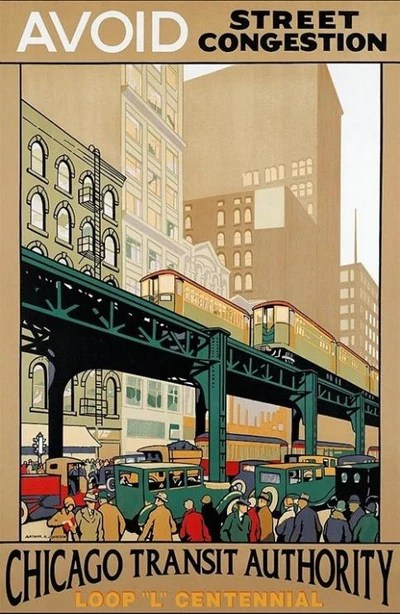 chicago transit authority cta poster avoid street congestion