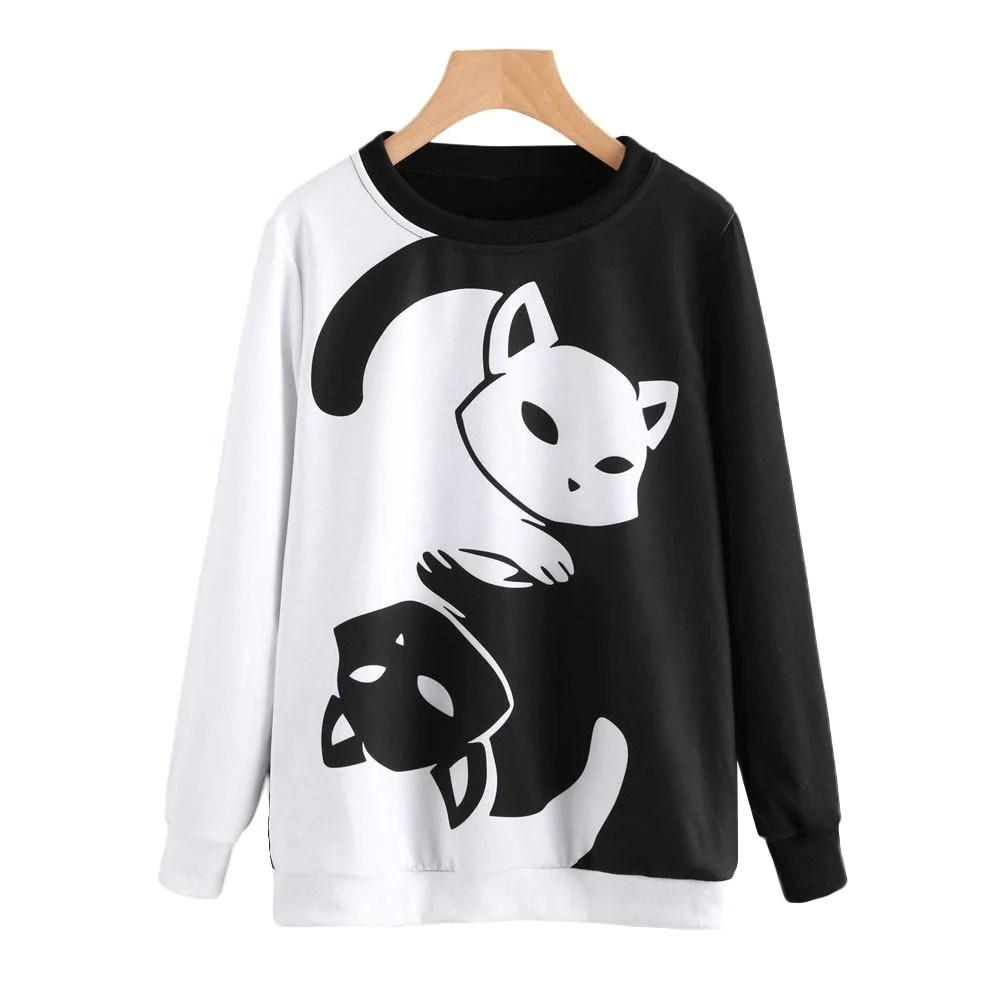 yin yang cat pullover