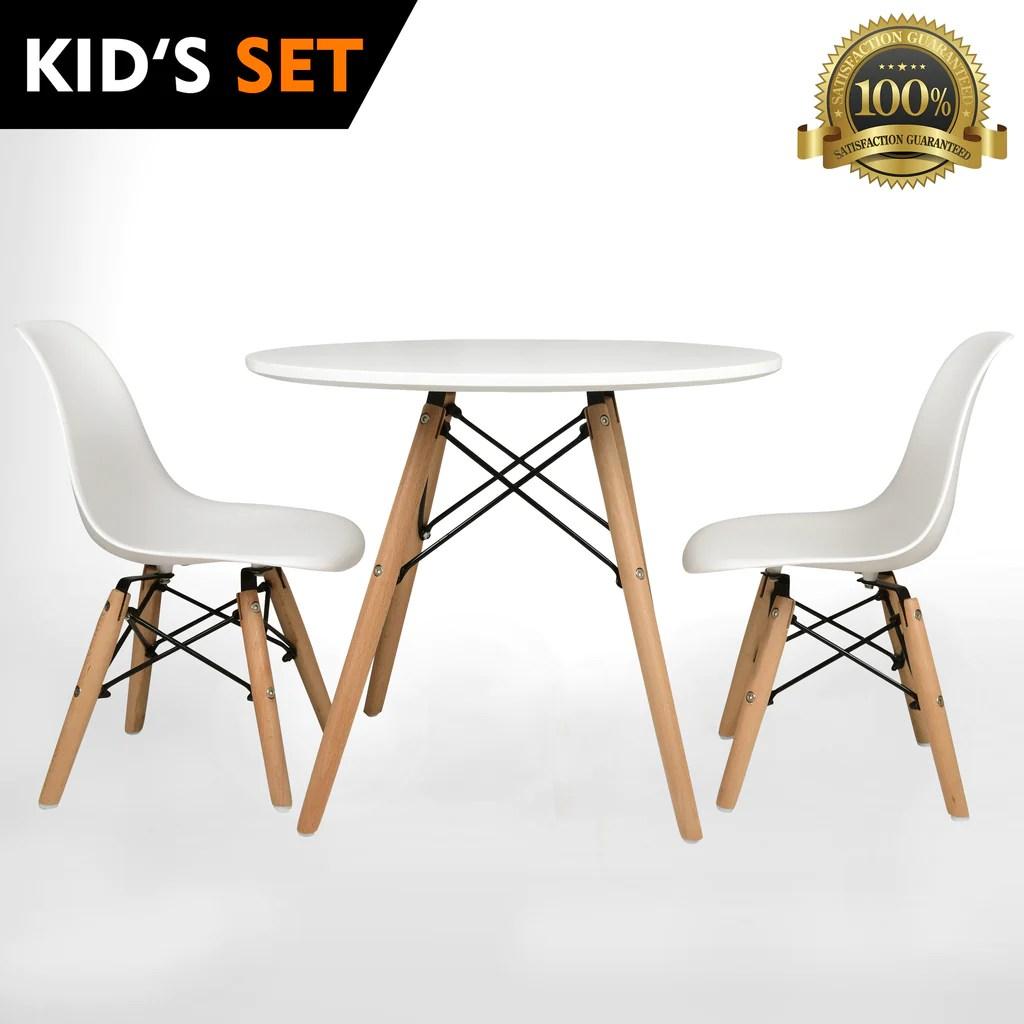 plastic kids table and chairs carl hansen ch24 wishbone chair urbanmod eames style modern white set