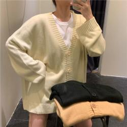 aesthetic solid korean colors basic cardigan knitted