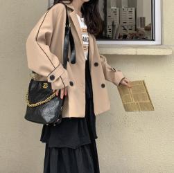 aesthetic korean beige elegant casual jacket loose itgirl