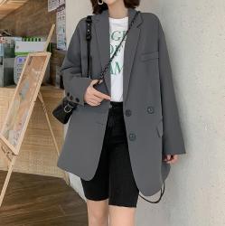aesthetic korean casual loose blazer jacket gray