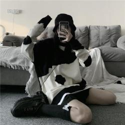 aesthetic cow oversized korean sweater knit printed itgirl itgirlclothing sweaters aesthetics outfits knitted