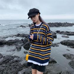 aesthetic korean sweater neck striped knitted round sweaters 2x itgirl