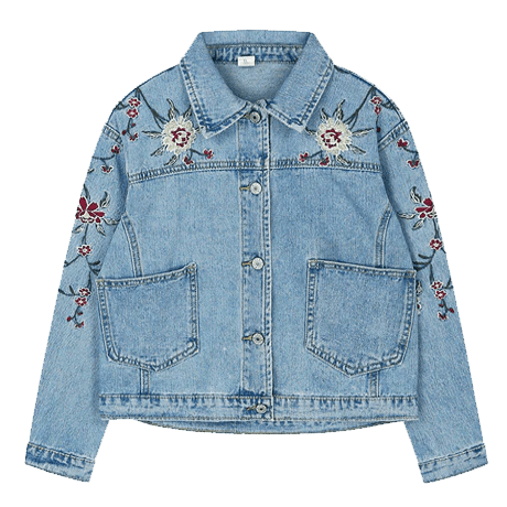 roses cute embroidery denim