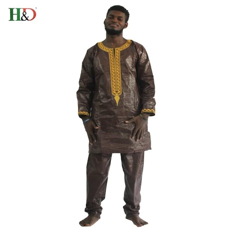 H D Africain Bazin Riche Hommes Afrique Robe Broderie Traditionnelle Homme Vêtements T Shirt Tops Pantalon Ensemble Dashiki Imprimer Cire Afrique