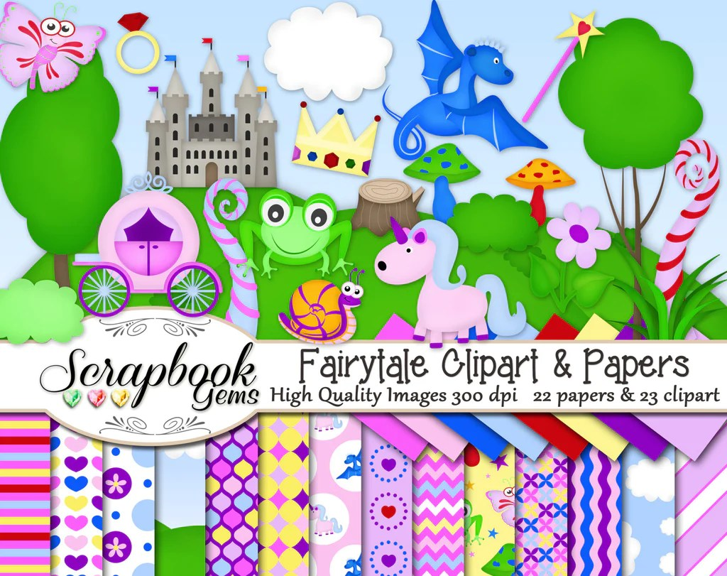 hight resolution of fairy tale clipart papers