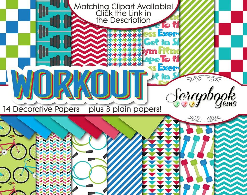 workout clipart and papers [ 1024 x 811 Pixel ]