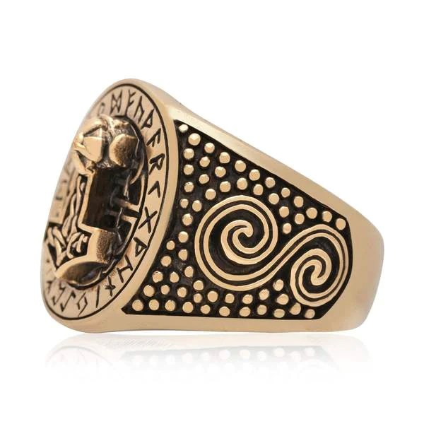 Bronze Colored Mjolnir Ring Thors Hammer Viking Rings