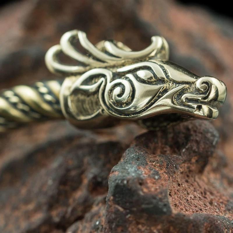 Fianna Celtic Deer Bracelet - Brass Irish Hunting Warriors Hunters Sons Of Vikings