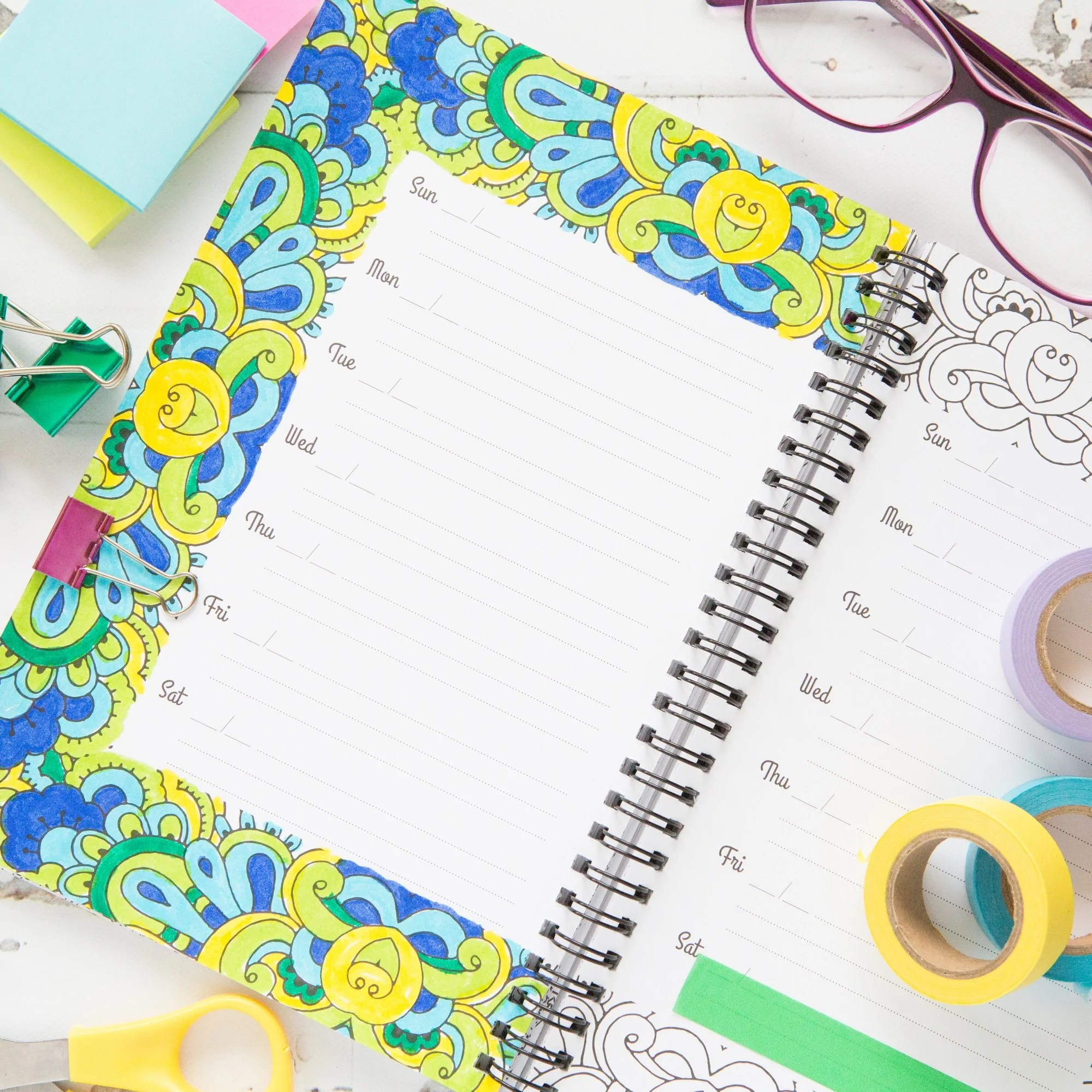 medium resolution of my days in color undated coloring planner 6x9 100 pages