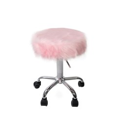 Pink Vanity Chair Desk With No Wheels Momo Faux Fur Stool Impressions Co