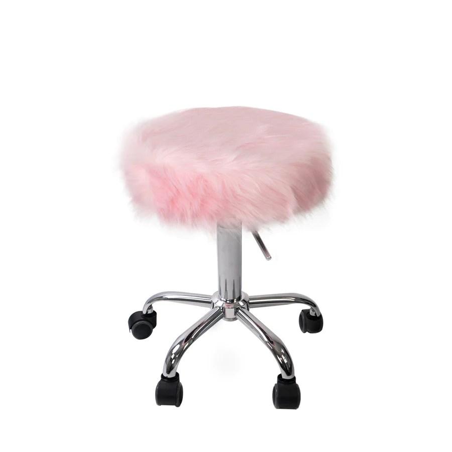 Momo Faux Fur Vanity Stool  Impressions Vanity Co