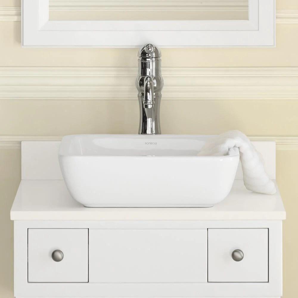 15 Domain Square Ceramic Vessel Bathroom Sink In White