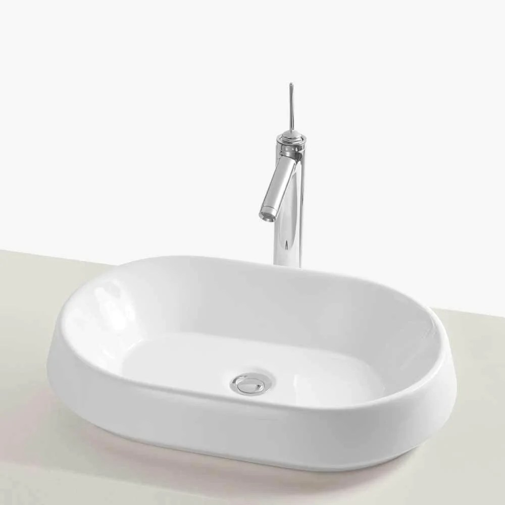 23 Stadium Oval Above Counter Ceramic Vessel Sink without