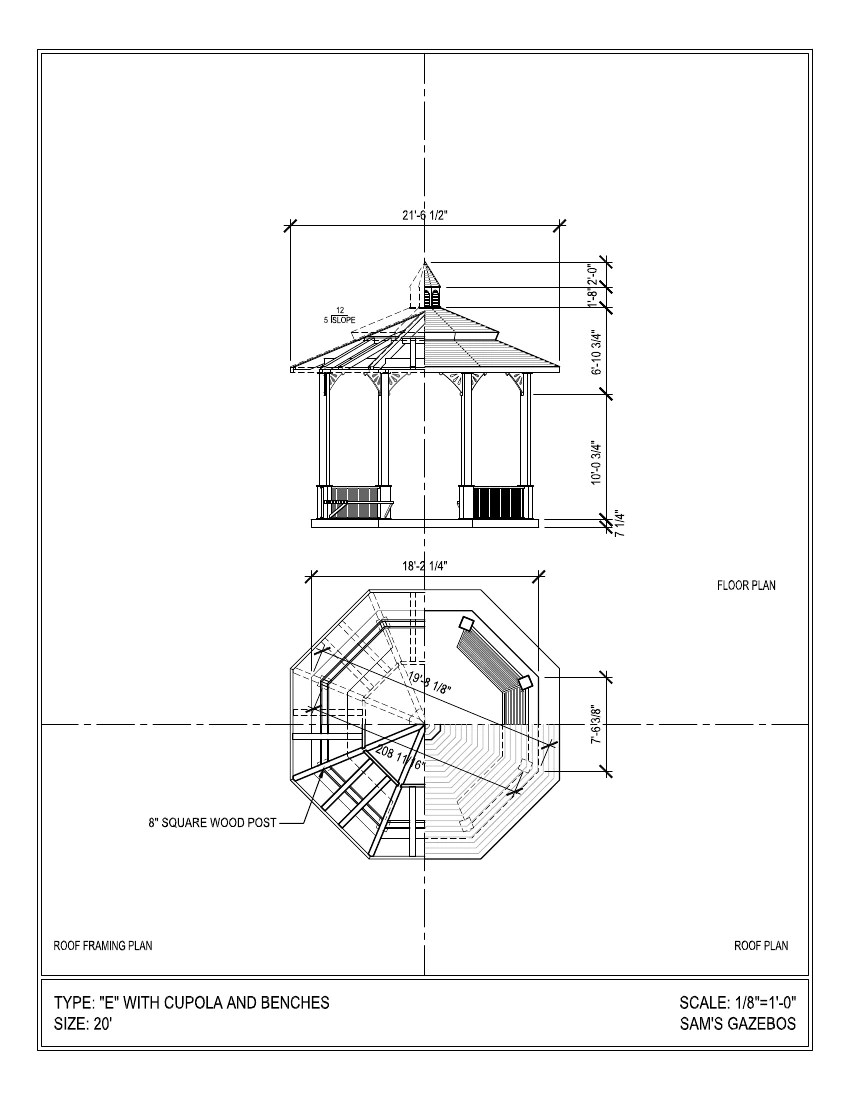 octagon gazebo with pagoda style two tiered type e composite shingle roof cupola  [ 849 x 1099 Pixel ]